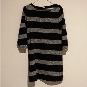 JCrew Black and Gray Striped Sweater Dress